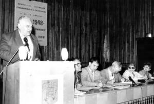 Simpozionul de la Sighet, 1998. În prezidiu: Ioan Ciupea, Virgil Tarău, Dennis Deletant, Flavia Coposu Băleşu