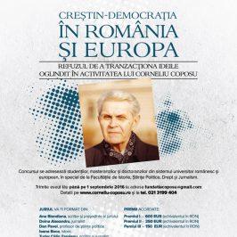 """Premiile concursului de eseuri """"Creștin-democrația în România și Europa – Refuzul de a tranzacționa ideile oglindit în activitatea lui Corneliu Coposu"""""""