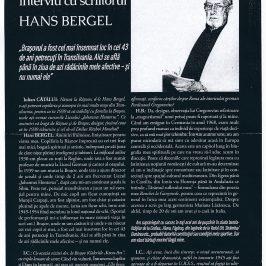 Două interviuri cu scriitorul Hans Bergel apărute în presa românească