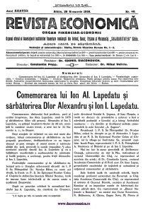 Comemorarea Lapedatu - Revista Economica Nr. 48/1936